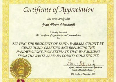 SB Court House Certificate